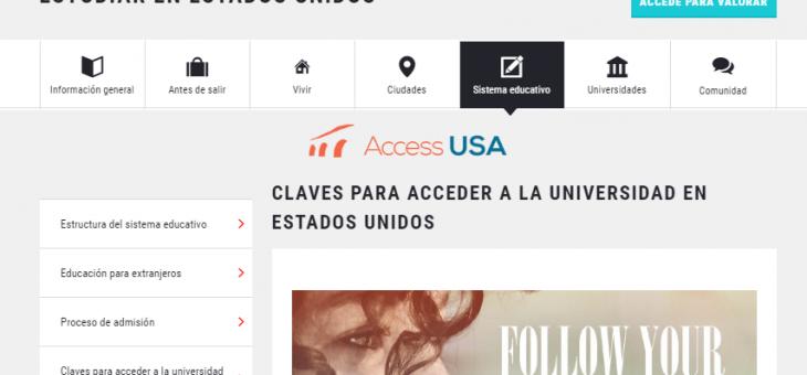 """Access USA patrocina en UNIVERSIA la sección """"Estudiar en los Estados Unidos"""""""