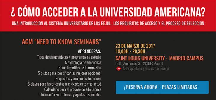 Nueva taller – ¿Cómo acceder a la universidad americana? – 23 de marzo 2017
